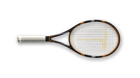 Racchetta di tennis, articolo sportivo isolato sulla vista bianca e superiore Immagini Stock
