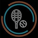 Racchetta di tennis di vettore con pallina da tennis, icona di sport illustrazione di stock