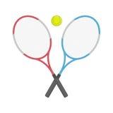 Racchetta e palla di tennis attraversate due Fotografia Stock Libera da Diritti