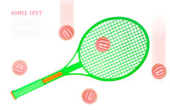 Racchetta e palle di tennis verde isolate su fondo bianco Fotografia Stock
