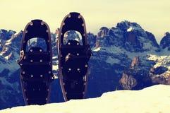 Racchette da neve in neve al picco di montagna, giorno di inverno soleggiato piacevole Immagine Stock Libera da Diritti
