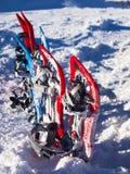 Racchette da neve su neve Fotografia Stock