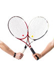 Racchette di tennis attraversate Fotografie Stock Libere da Diritti