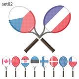 Racchette e bandiere di tennis Fotografie Stock Libere da Diritti