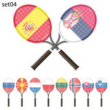 Racchette e bandiere di tennis Immagine Stock