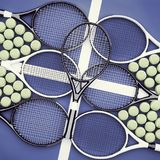 Racchette e palle di tennis Scuola di tennis Fotografia Stock Libera da Diritti