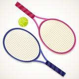 Racchette e sfera di tennis dell'illustrazione Fotografie Stock