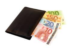 Raccoglitore con gli euro Fotografia Stock Libera da Diritti