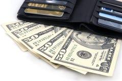 Raccoglitore con i dollari US Immagini Stock Libere da Diritti