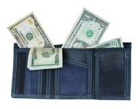 Raccoglitore con i lotti di soldi Fotografie Stock