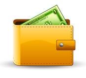 Raccoglitore con il dollaro Immagini Stock Libere da Diritti