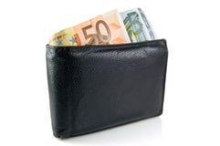 Raccoglitore con l'euro Fotografia Stock
