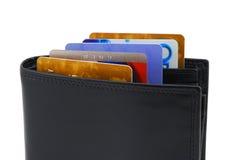 Raccoglitore con le carte di credito Fotografia Stock Libera da Diritti
