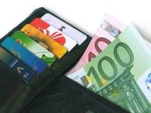 Raccoglitore con le carte di credito ed i soldi Fotografie Stock Libere da Diritti
