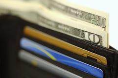 Raccoglitore con soldi e le schede Fotografie Stock