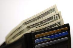 Raccoglitore con soldi e le schede Immagini Stock