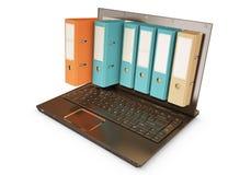 raccoglitore 3d schioccando fuori da uno schermo del computer portatile Fotografie Stock