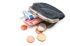 Raccoglitore degli anziani con euro valuta Fotografia Stock