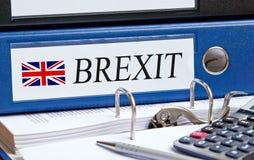 Raccoglitore di Brexit nell'ufficio fotografia stock libera da diritti