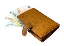 Raccoglitore di cuoio con le euro banconote Fotografia Stock Libera da Diritti