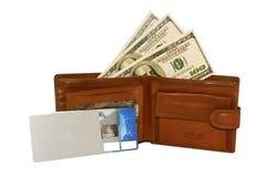 Raccoglitore di cuoio con soldi Immagini Stock Libere da Diritti