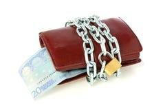 Raccoglitore Locked con euro valuta fotografia stock