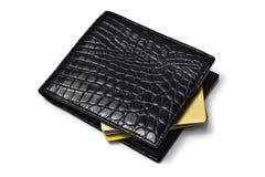Raccoglitore nero con le carte di credito Immagine Stock