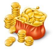 Raccoglitore in pieno delle monete Immagini Stock Libere da Diritti