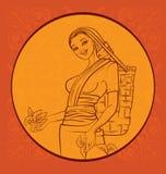 Raccoglitrice del tè con fondo regionale Sry Lanka Immagine Stock Libera da Diritti