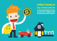 Raccolga i soldi per comprare una casa e un'automobile illustrazione di stock