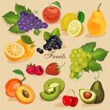 Raccolga la frutta e le bacche succose, illustrazione di vettore Drogheria verde Fotografia Stock
