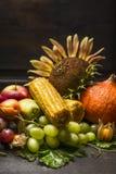 Raccolga la frutta e le verdure con un girasole su una tavola di legno scura, sui precedenti di legno, fine su immagine stock libera da diritti