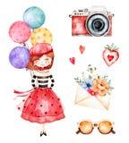 Raccolta adorabile di estate con la ragazza, palloni multicolori royalty illustrazione gratis