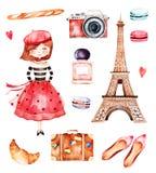 Raccolta adorabile di estate con la torre Eiffel royalty illustrazione gratis