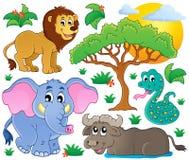 Raccolta africana sveglia 2 degli animali Immagine Stock