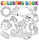 Raccolta all'aperto di estate del libro da colorare Fotografia Stock