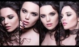 Raccolta alla moda dei ritratti della femmina di bellezza Fronti del collage delle donne Foto di modo Fotografie Stock Libere da Diritti