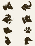 Raccolta animale della siluetta Immagini Stock Libere da Diritti