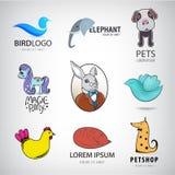 Raccolta animale di logo, uccello, coniglio, gatto, volpe, cane, pollo, cavallino, icone dell'elefante Immagine Stock