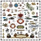 Raccolta antica degli elementi della mappa royalty illustrazione gratis