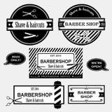 Raccolta antiquata di vettore dei segni del negozio di barbiere Fotografia Stock
