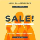 Raccolta arancio 2019, 2020 degli uomini di colore Offerta speciale del manifesto di grande vendita Progettazione del modello del illustrazione vettoriale