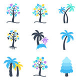 Raccolta astratta delle icone dell'albero di inverno Fotografia Stock