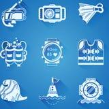 Raccolta bianca delle icone di immersione subacquea Fotografia Stock
