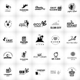 Raccolta in bianco e nero di logo di vettore per la società di pulizia Fotografia Stock Libera da Diritti