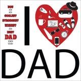 Raccolta in bianco e nero di progettazione Giorno di padri felice Fotografie Stock Libere da Diritti