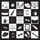 Raccolta in bianco e nero di progettazione Giorno di padri felice Fotografia Stock Libera da Diritti