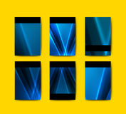 Raccolta blu dei modelli dell'opuscolo Immagine Stock