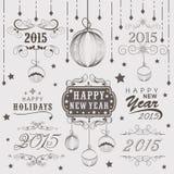 Raccolta calligrafica e tipografica per il nuovo anno e Christm Fotografia Stock
