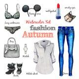 Raccolta classica di autunno dell'acquerello, stile di modo, oggetti di abbigliamento ed accessori, jeans, camicia, borsa, stival Fotografie Stock